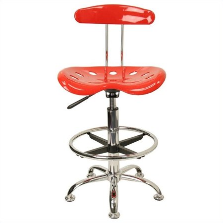 Kingfisher Lane Drafting Chair in Red and Chrome