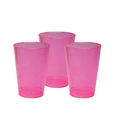 party essentials hard plastic 10-ounce party cups and tall tumblers, neon pink, 25-count (Pink Party Cups)