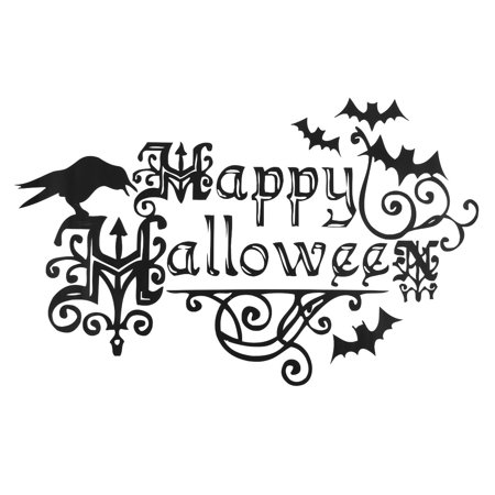 PVC Halloween Letter Pattern Window Film Wall Sticker White 60 x - Halloween Fim