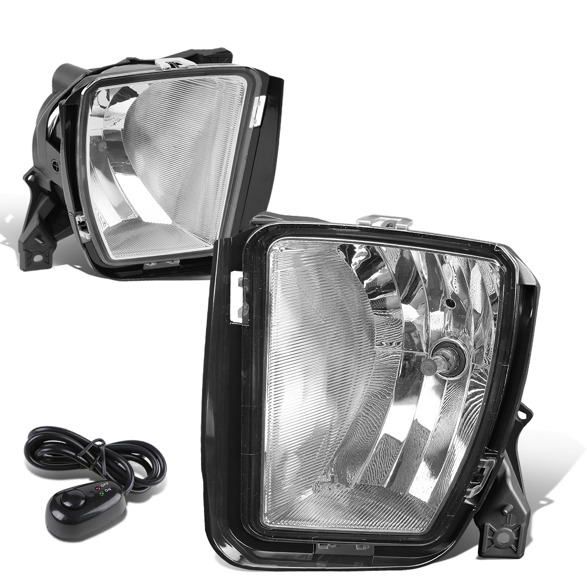 For 13-18 RAM Truck 1500 Pair Front Bumper Driving Fog Light/Lamp+Switch Clear Lens