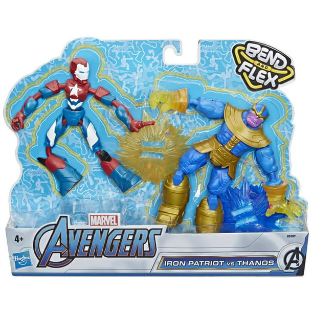 Marvel Bend & Flex Iron Patriot & Thanos Action Figure 2-Pack
