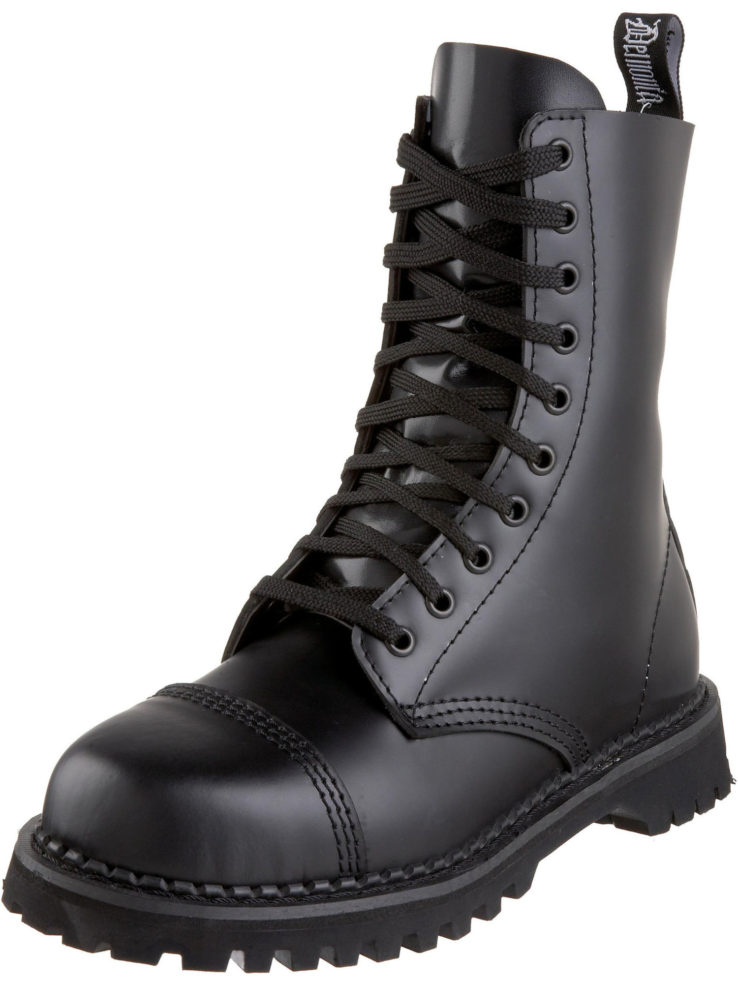 MENS SIZING Low Heel Black Leather Calf Boots 10 eyelet Lace up Steel Toe
