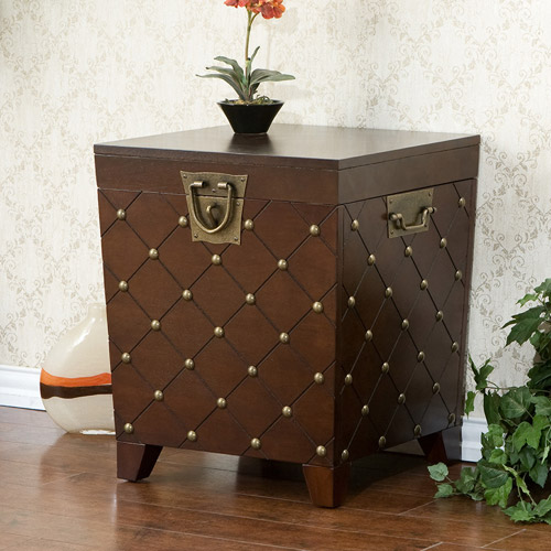 Haven Nailhead End Table Trunk, Espresso