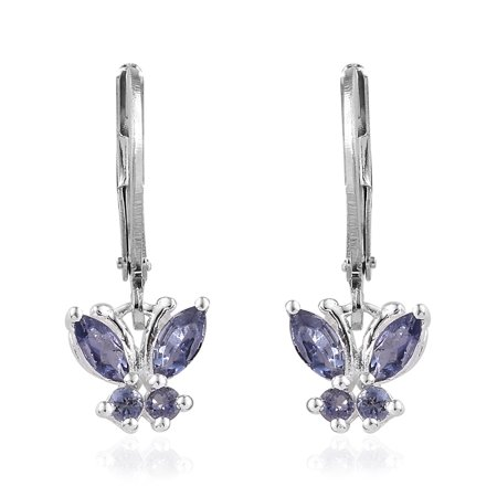 Fancy Dangle Leverback Earrings (925 Sterling Silver Iolite Blue Butterfly Leverback Drop Dangle Earrings for)