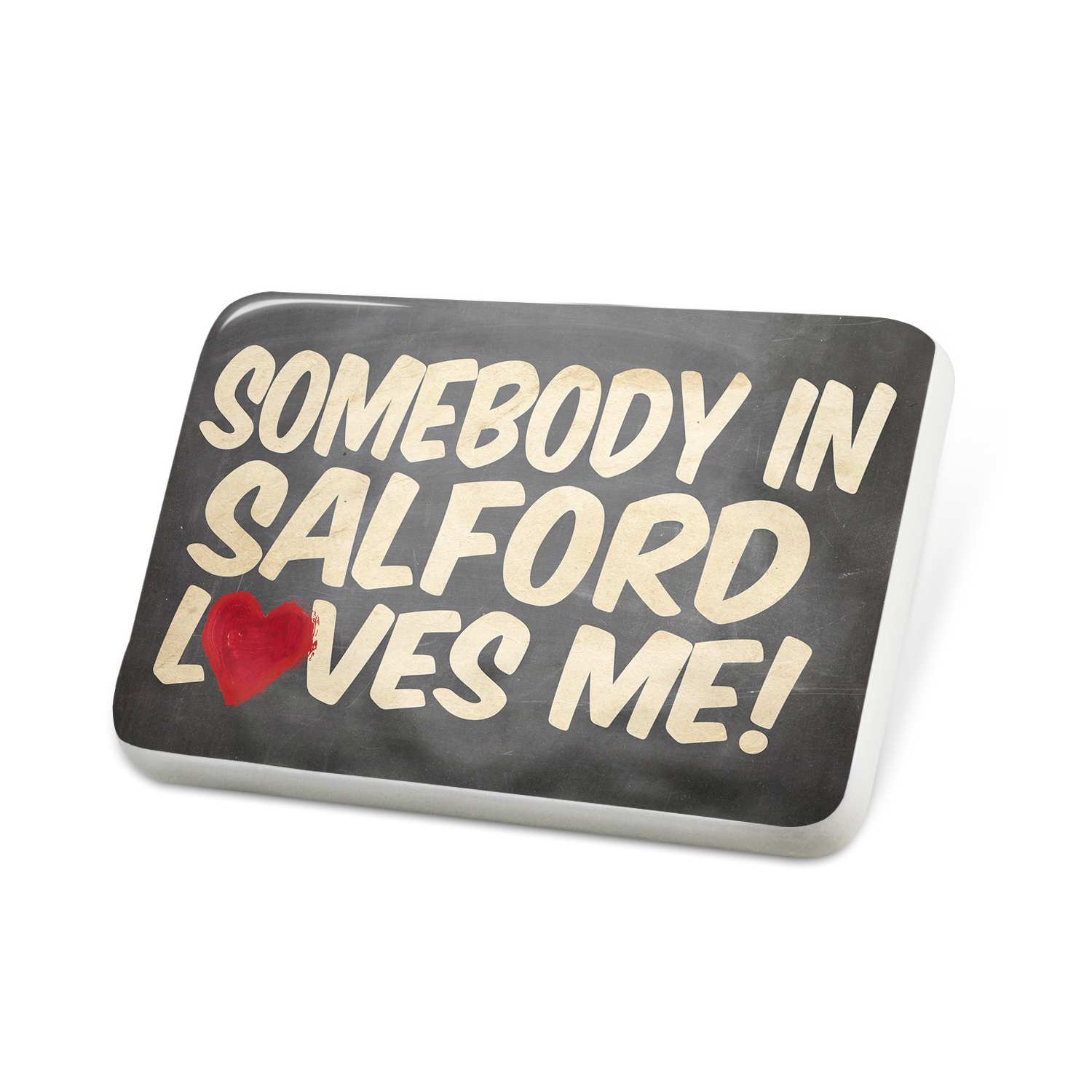 Porcelein Pin Somebody in Salford Loves me, UK Lapel Badge – NEONBLOND