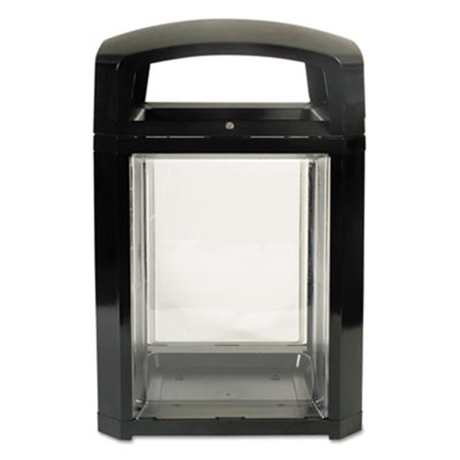 Rubbermaid Commercial Products 397589 50 gal Landmark Series Security Container, Black-Clear
