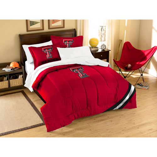 NCAA Applique 3-Piece Bedding Comforter Set, Texas Tech