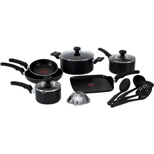 T-fal, Soft Handles Nonstick, C523SE, Dishwasher Safe Cookware, 14 Pc. Set, Black