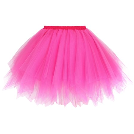 Women's 1950s Vintage Ballet Bubble Tutu Skirt Petticoat, Rose - 1950s Skirts