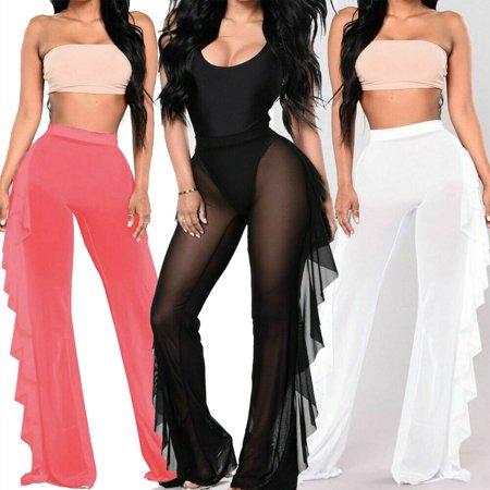 Women Mesh Sheer Bikini Cover Up Long Pant Trousers Beach Swimwear Plus Size S-2XL ()