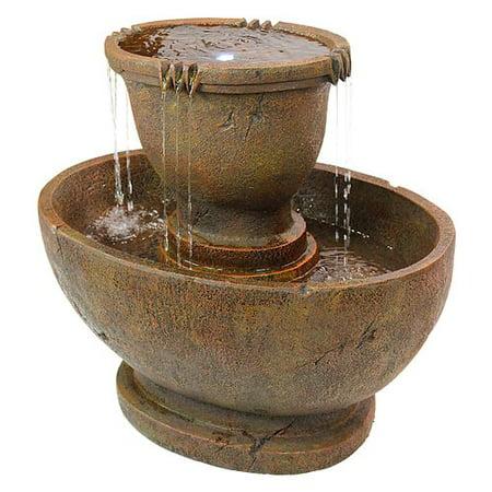Wildon Home Resin Oval Urns Cascading Garden Fountain with LED Light
