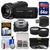 Panasonic HC-V770 Wireless Smartphone Twin Recording Wi-Fi HD Video Camera Camcorder with 64GB Card + Case + 3 Filters + Tele/Wide Lens Kit ** Kit Includes 9 Items with all Manufacturer-supplied Accessories + Full USA Warranties: 1) Panasonic HC-V770 Wireless Smartphone Twin Recording Wi-Fi HD Video Camera Camcorder 2) Transcend 64GB SecureDigital SDXC 300x UHS-I Class 10 Memory Card 3) Precision Design 2.5x Telephoto + .45x Wide-Angle Digital Lenses (49mm/52mm/55mm/58mm) 4) Vivitar 3-Piece Multi-Coated HD Filter Set (49mm UV/CPL/ND8) 5) Precision Design PD-C15 Digital Camera/Camcorder Case 6) Precision Design SD/SDHC + MicroSD HC Card Reader 7) Precision Design 5-Piece Camera + Lens Cleaning Kit 8) Precision Design 8 SD / 2 MicroSD Memory Card Case 9) LCD Screen Protectors