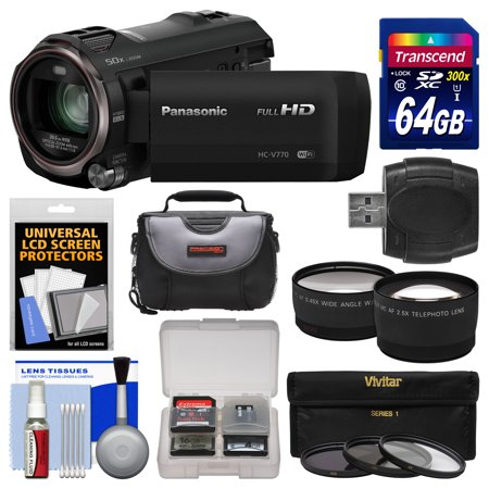 Digital Video Recording Card (Panasonic HC-V770 Wireless Smartphone Twin Recording Wi-Fi HD Video Camera Camcorder with 64GB Card + Case + 3 Filters + Tele/Wide Lens Kit)