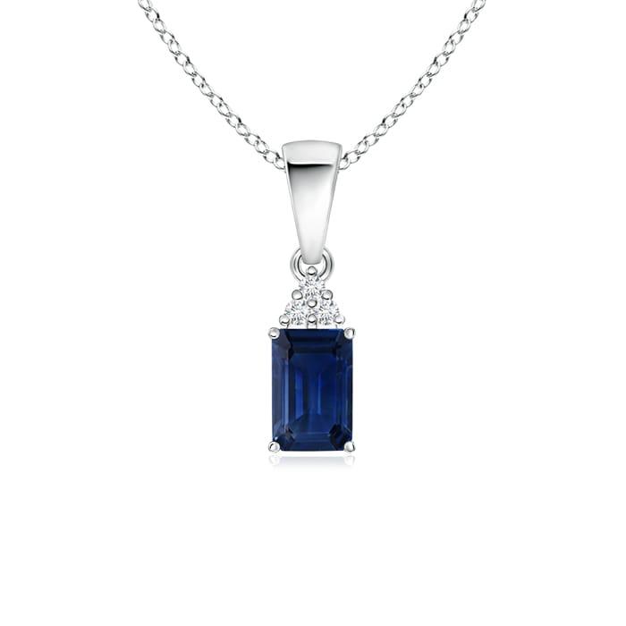 Prong Set Emerald Cut Blue Sapphire Pendant with Diamond in Platinum (6x4mm Blue Sapphire) by Angara.com