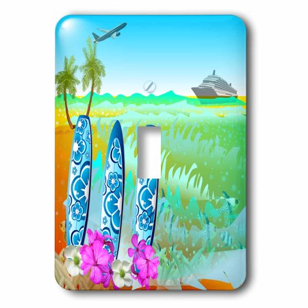 Cruise Dimmer Switch (3dRose Hawaiian beach, surfboards, a cruise ship and jet fun art, Double Toggle Switch)