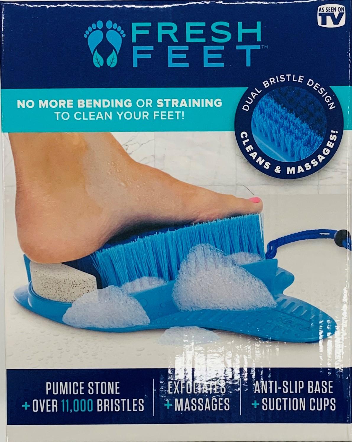 Fresh Feet Foot Scrubber, Clean and Massage Your Feet without Bending, Use in the Shower, As Seen on TV