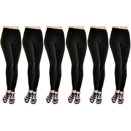 Image of American Leggings 6-Pack Fleece Lined Leggings Midnight Black X-Large Size 1X/2X