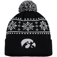 Men's Russell Athletic Black Iowa Hawkeyes Float Cuffed Knit Hat with Pom - OSFA