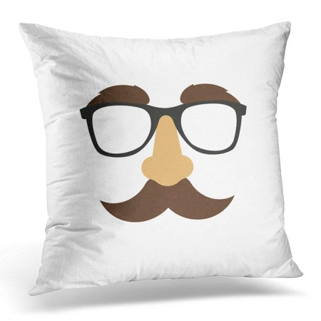 ARHOME Black Fake Glasses Nose Mask White Funny Pillow Case Pillow Cover 18x18 inch (Funny Glasses And Nose)