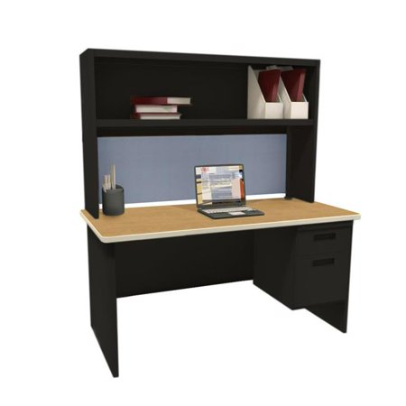 - Pronto PRNT2BKOKF1214 72 in. Single File Desk with Storage Shelf, Black & Oak - Basin