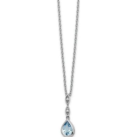 Argent 925 Blanc Ice Bleu Topaze et .01 ct diamant Collier - image 3 de 3