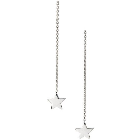 Sterling Silver Thread-Thru Star Drop Earrings