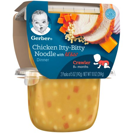 Gerber 3rd Foods Lil' Bits Chicken Itty-Bitty Noodle Dinner Baby Food, 5 oz Tubs, 2 Count (Pack of 6)