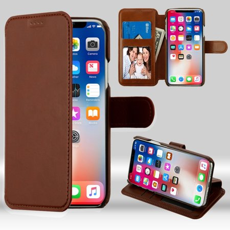 iPhone X XS Fashion Case, iPhone X XS Case, by Insten Neon Urban Plus Stand Book-Style Leather [Card Holder Slot] Wallet Pouch Case Cover For Apple iPhone X XS