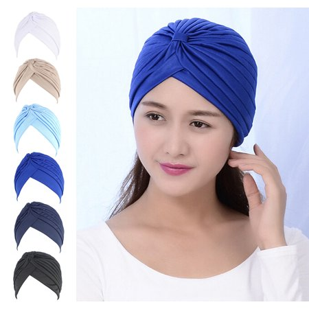 Fascigirl 6Pcs Solid Color Twisted Pleated Stretchable Turban Head Cover Wrap Fashion Hair Accessories Hat for Women Ladies