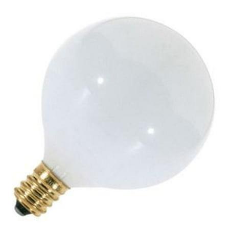 Satco S3261 40W 120V Globe G16.5 Gloss White E12 Candelabra Base Incand. bulb