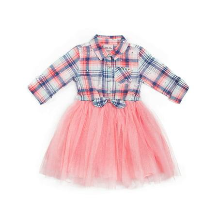 Fancy Dresses For Little Girl (Little Lass Plaid Tie-Front Tulle Dress (Toddler)