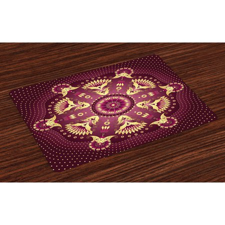(Purple Mandala Placemats Set of 4 Iranian Middle Eastern Artistic Retro Ethnic Arabesque Floral Motif, Washable Fabric Place Mats for Dining Room Kitchen Table Decor,Dried Rose Yellow, by Ambesonne)