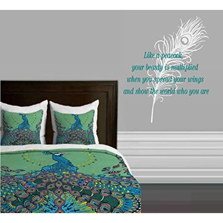 Like A Peacock  Your Beauty Is Multiplied   Wall Decal  Home Decor Two Decals