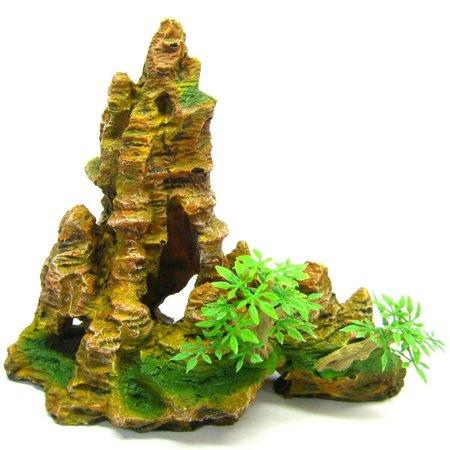 "Mountain Aquarium Ornament tree 8.8""x4.5""- Rock Cave HIDE bonsai decoration fish"