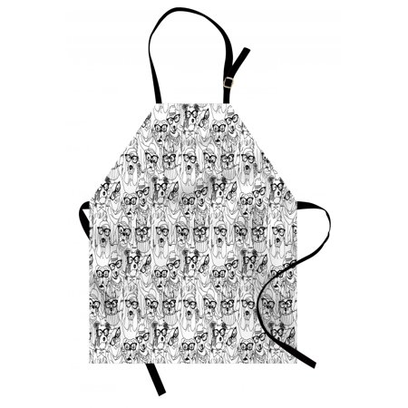 Dog Apron Cute Monochrome Trace Sketch Pugs Bulldog Terrier with Glasses and Hats Hipster Attire, Unisex Kitchen Bib Apron with Adjustable Neck for Cooking Baking Gardening, Black White, by Ambesonne - Black And White Affair Attire