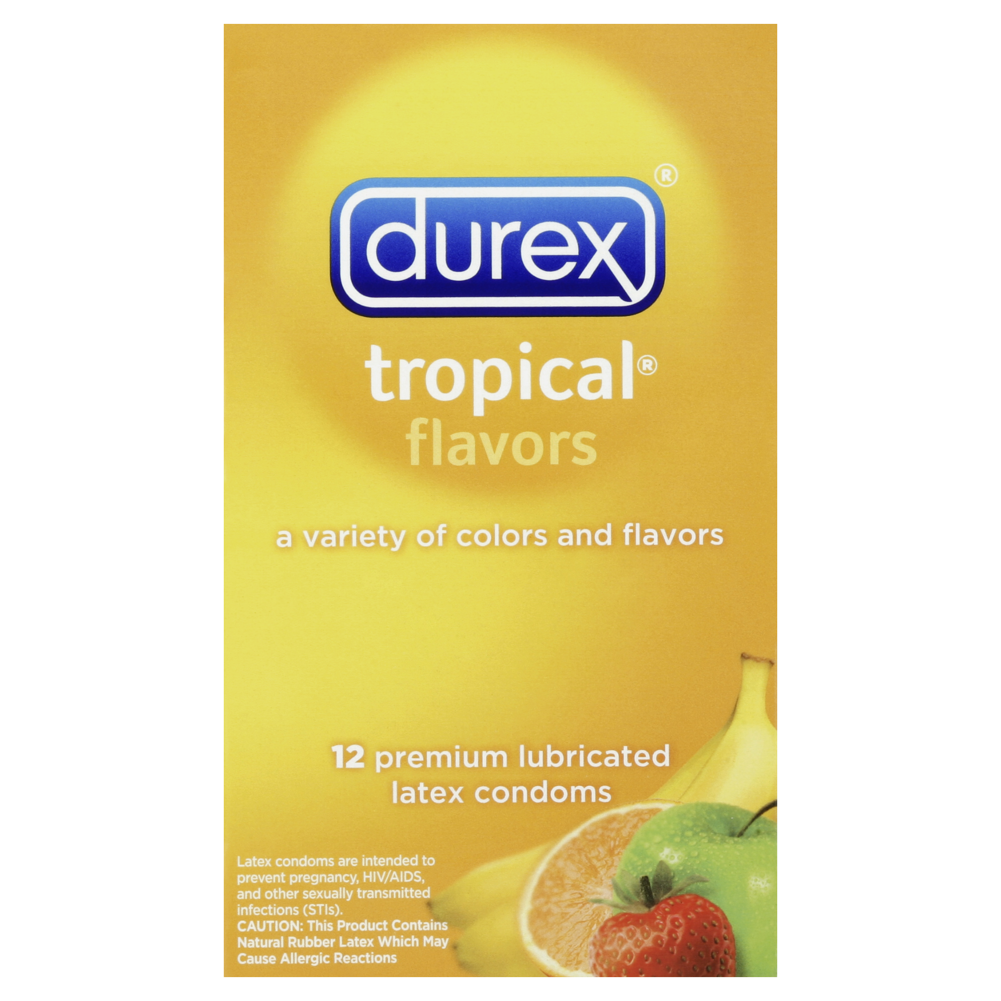 Durex Tropical Flavors Flavored Premium Condoms, 12 Count