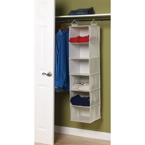 Wonderful Household Essentials 6 Shelf Hanging Closet Organizer With Plastic Shelves,  Natural Canvas Image 2