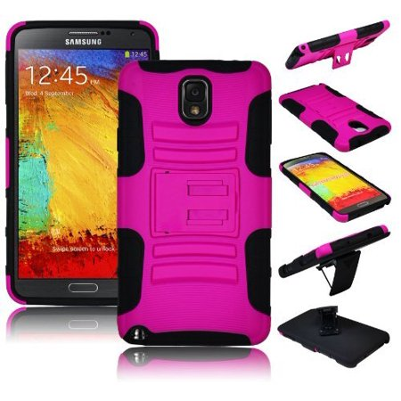 Bastex Heavy Duty Hybrid Kickstand Holster Rugged Belt Clip Case for Samsung Galaxy Note 3 - Black Silicone with Rugged Pink Hard Cover (Samsung Note 3 Case For Belt)