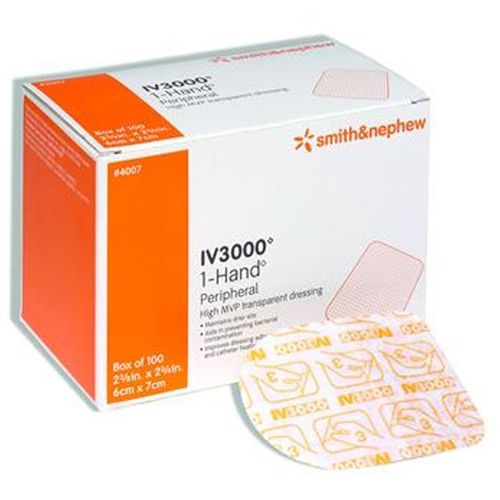 "Smith & Nephew IV3000 Catheter Dressing ""4 x 4.75 , 1 Hand Transparent Adhesive Dressing, 50 Count"""