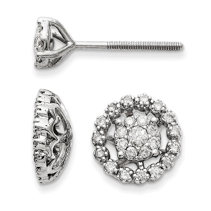 14K White Gold Small Flower & Jacket Diamond Post Earrings - image 2 de 2