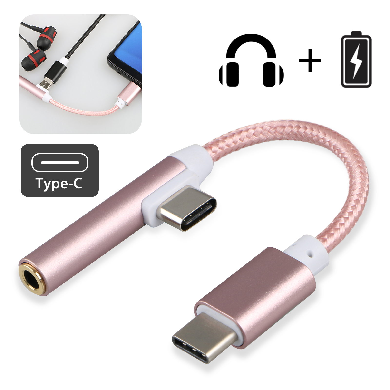 2 in 1 Type-C 3.5mm Audio Jack Cable, USB-C Jack Audio Adapter, Headphone Charger Converter Supports Audio and Charging Cord Cable for Samsung Motorola Oneplus (Rose Gold)