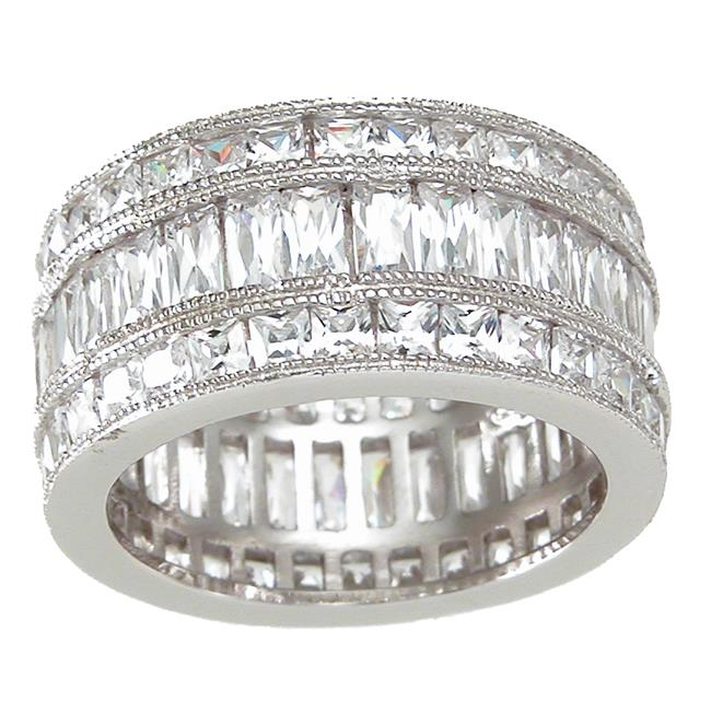 Plutus kkr6742a 925 Sterling Silver Tripple Eternity Ring Size 6