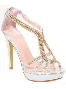 cb6506386ca Product Image Rhinestone Evening Platform Sandal Formal Women s Heels. Fourever  Funky