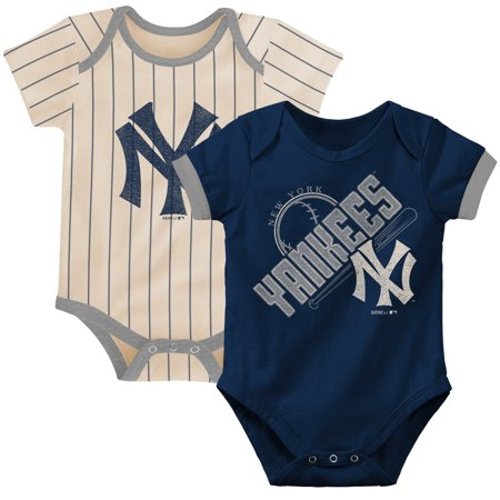 New York Yankees Newborn & Infant Cooperstown Collection Groovy Game Two-Pack Bodysuit Set - Navy/Tan