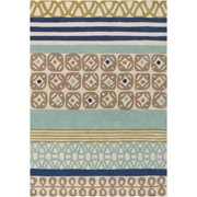 5' x 8' Retro Print Stripes Blue & Green Hand Tufted Plush Pile Wool Throw Rug