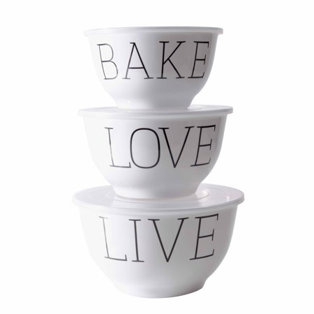 2 Piece Mincing Set (Mainstays Live, Love, Bake Melamine Mixing Bowl with Lids, 6 piece Set)