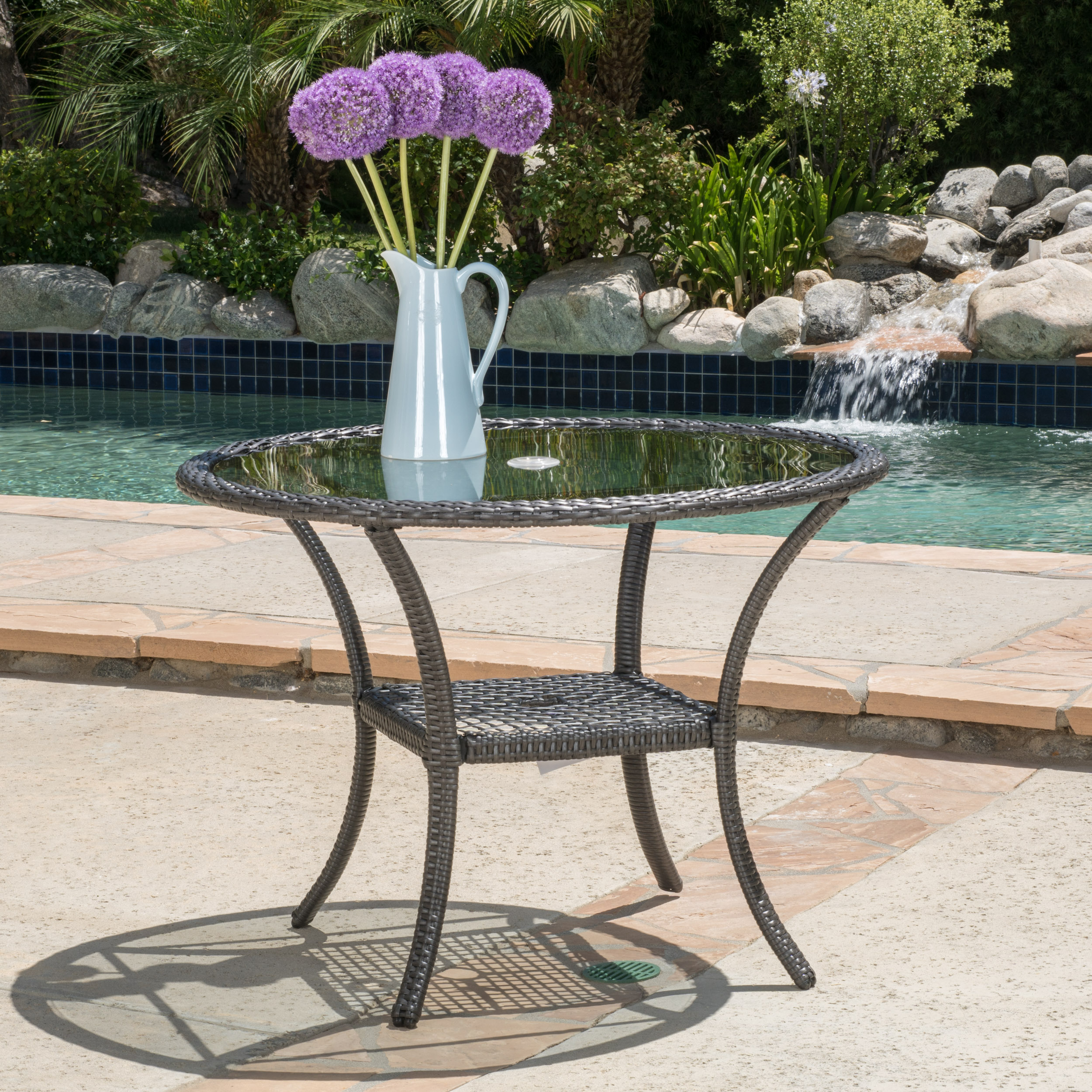 Kala Outdoor Wicker Bistro Table, Grey