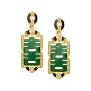 Happy Gem Drop Earrings with Cubic Zirconia in 14kt Gold-Plated Sterling Silver