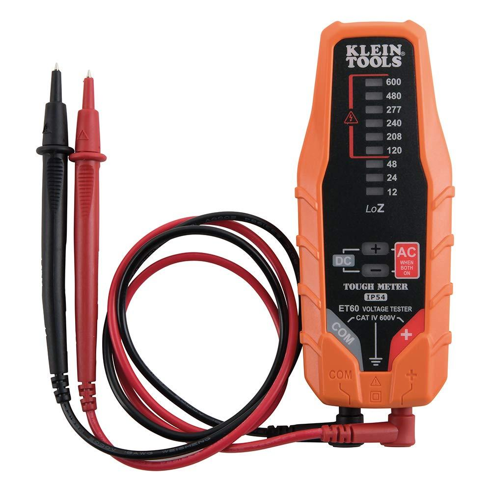 Electronic AC/DC Voltage Tester ET60, Tests AC/DC voltage from 12-600V at nine useful levels aligned with commonly used voltages By Klein Tools