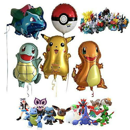 Pokemon Theme Party Decorations Supplies Bundle Favors Pack 1 Bonus Figure (Puppy Themed Party Supplies)